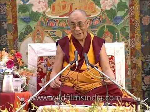 Dalai Lama teaching in Tibetan
