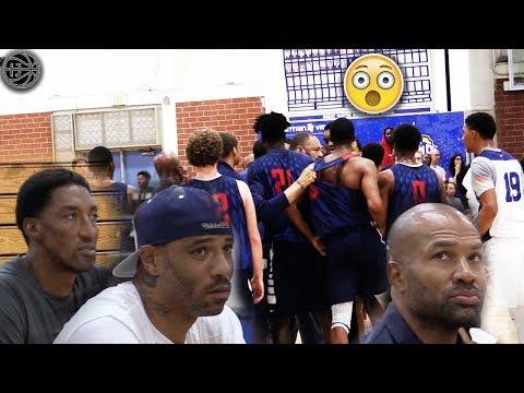 NBA Legends Watch Their Sons Get HEATED IN A GAME! Scottie Pippen Jr, Kenyon Martin Jr, Derek Fisher