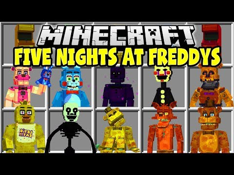 Minecraft FIVE NIGHTS AT FREDDYS MOD  FREDDY, BONNIE, CHICA, THE PUPPET!!