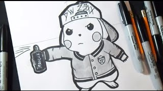 comment dessiner pikachu graffiti kharasachcom - Dessin Graffiti