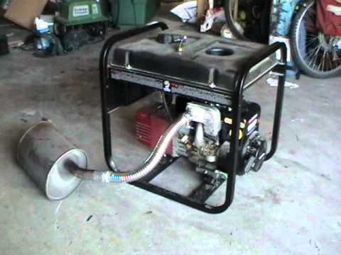 powermate 5000 modified muffler - YouTube
