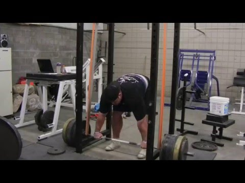 Brian Shaw (895 lb x 5) Reverse Band Deadlift Training Image 1