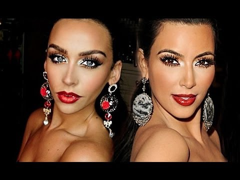 Kim Kardashian Bronze Smokey Eye & Red Lips + FULL FACE