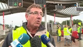 Gilets Jaunes : blocage au péage de la Négresse, à Biarritz