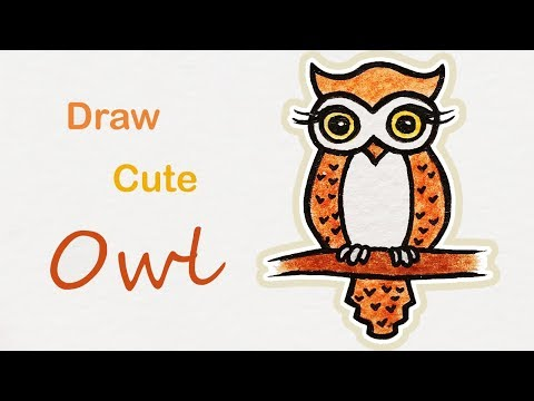 How to draw a cute Owl | Step by step art for kids