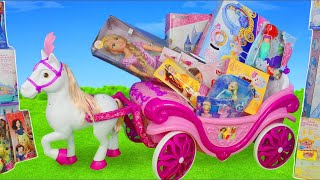 Disney Princess Carriage Toy Dolls: Rapunzel, Frozen Elsa, Cinderella, Ariel & Belle Doll for Kids