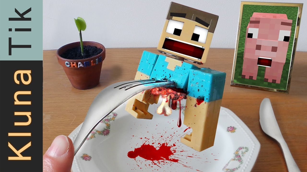 Eating STEVE from MINECRAFT Kluna Tik Dinner #75 | ASMR eating sounds no talk