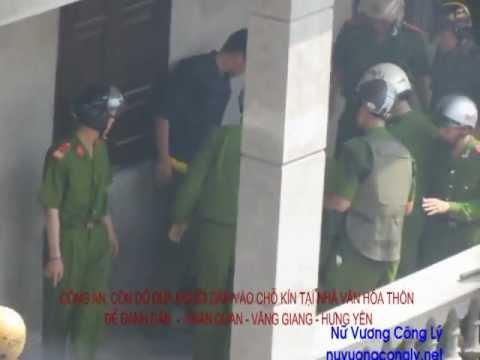 Công an và côn đồ đánh người cướp đất của dân Văn Giang.