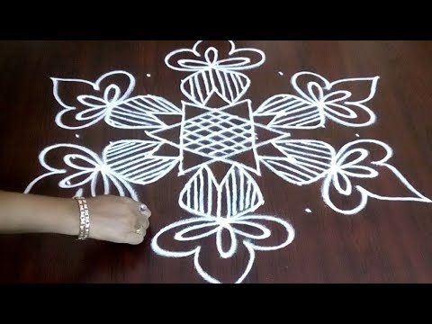 New Rangoli Design 9 x 5  || Easy Kolam With Simple Star Design || Fashion World