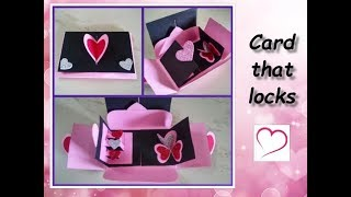 Heart Greeting Card with a lock / Pop-up Handmade Card Tutorial / DIY