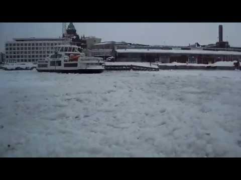 Helsinki Harbor, Finland Iced Over