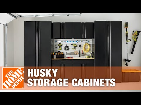 Husky storage cabinets and secure lock track system youtube Home depot husky garage cabinets