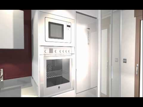 Estudio cocina sin tiradores con el lavadero incorporado for Planos de cocina y lavadero