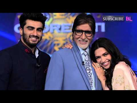 KBC 8: Amitabh Bachchan strikes a happy pose with Deepika Padukone and Arjun Kapoor