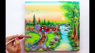 STEP BY STEP Village landscape Painting for Beginners