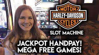 JACKPOT HANDPAY on Harley Davidson Slot Machine! MEGA FREE GAMES! MAX BET!