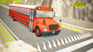 Spikes Embedded in Ramp against Bus Jumping Crashes #4 - BeamNG.drive