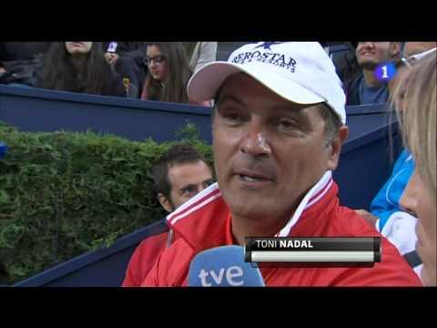 Entrevista a Toni Nadal en el partido Rafa-Milos Raonic del Conde de godó 2013