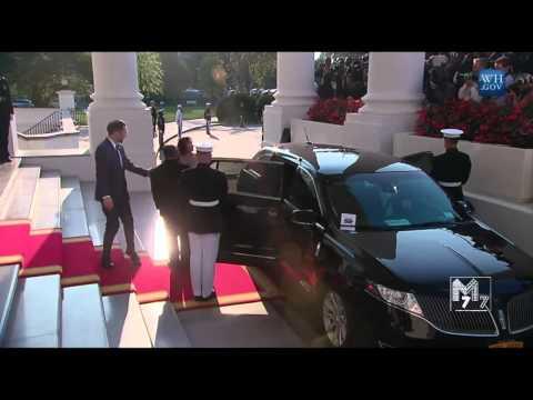 Gabon president Ali Bongo Ondimba and spouse Sylvia Bongo Ondimba arrive at the White House Diner