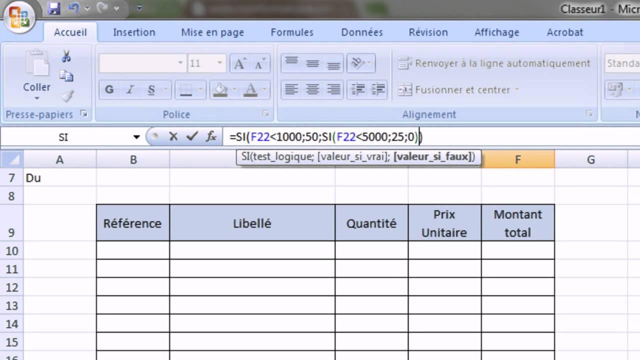 Excel 2007 - Exercice sur les fonctions SI() et ESTVIDE() - Meubles SI - Exercice 7 - YouTube