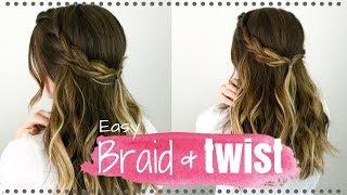 HAIR TUTORIAL | Easy Half-up Braid & Twist