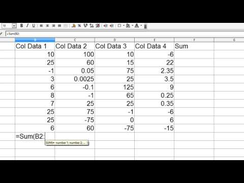 OpenOffice Calc 4 Tutorial 5 - Introduction To Functions - Sum AutoSum - Locations