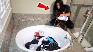 BLEACHING ALL OF HER CLOTHES PRANK!! (gone wrong!!!)