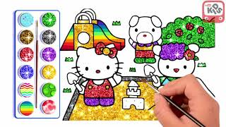 Kids learn to draw and  paint Hello Kitty   Kids Channel TV