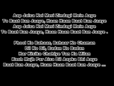 Aap Jaisa Ko Meri-Hindi Karaoke By Azzeezu - Qurbani