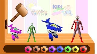 Learn Colors With Ultraman Super wings WOODEN FACE HAMMER XYLOPHONE Toddler Soccer Balls For Kids