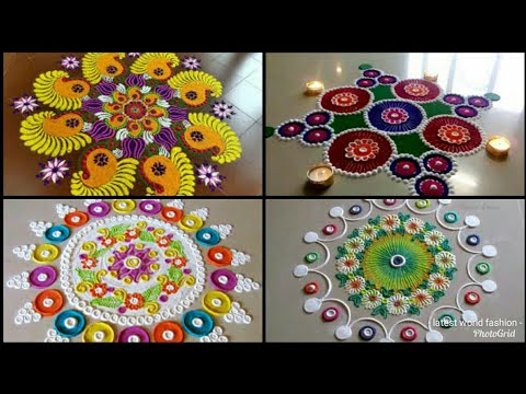 latest Beautiful rangoli for diwali //simple rangoli designs//best rangoli design