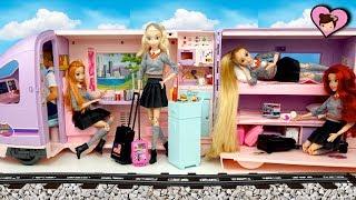 Barbie Rapunzel & Elsa Train Travel Evening Routine - Barbie Doll Train Toy
