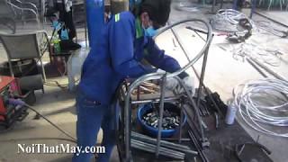 Sản xuất khung nhôm bàn ghế cafe nhựa giả mây 2A67 tại xưởng cơ khí Minh Thy Furniture
