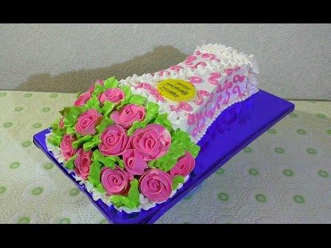 Торт БУКЕТ РОЗ из крема Как сделать торт букет роз Кремовые торты   Cake from cream rose bouquet