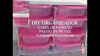 DIY Gaveteiro feito de caixa de papelão e palito de picolé!