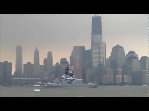 Japanese destroyer JS Shirane passes the World Trade Center at the start of Fleet Week