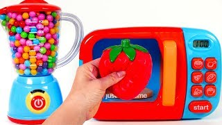 Learn Colors with Microwave Playset and Cutting Fruit Toys for Children