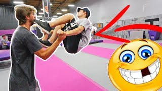 TANDEM TRAMPOLINE TRICKS *KICKED IN THE FACE*