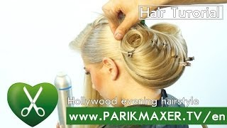 Hollywood evening hairstyle  parikmaxer tv english version