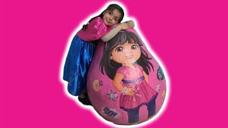 ANNA OPENS GIANT DORA THE EXPLORER SURPRISE EGG | Kinder Eggs | Princesses In Real Life | Kiddyzuzaa