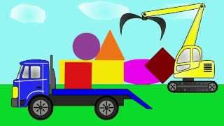 An excavator - loader and a truck! Let's learn geometric shapes! (P. 1)