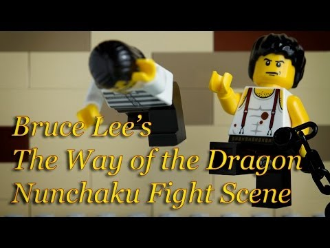 Lego Bruce Lee (李小龙) and The Way of the Dragon Nunchaku Fight Scene (猛龍過江双截棍战斗场面) Stop Motion Image 1