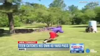 Watch this teen throw a Hail Mary pass and catch it himself