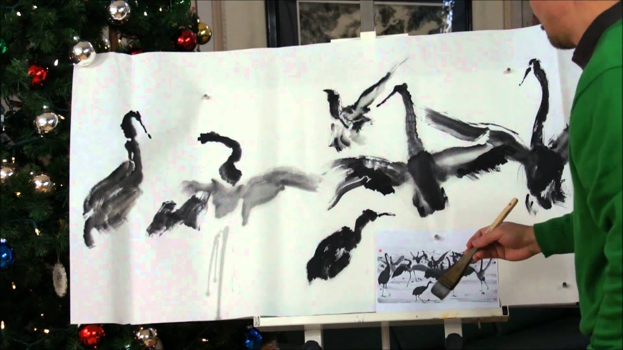 2011 New Years Wishes With Dancing Cranes Chinese Brush Painting On Double Xuan Paper YouTube