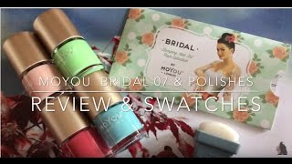 MoYou Bridal 07 stamping plate & polishes  - Review & Swatches