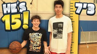 1 V 1 vs 7 FOOT 3 CHINESE BASKETBALL PLAYER! He's 15 YEARS OLD