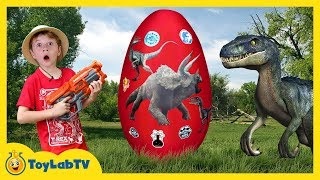 Giant Raptor Dinosaur Egg with Surprise Toys, Jurassic World Dinosaurs Toy & T-Rex Game for Kids