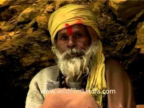 Sage looking godman or sadhu en route Amarnath