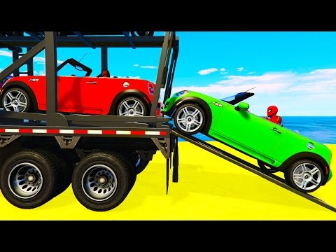 FUNNY SMALL CARS Transportation & Spiderman Cartoon for Children and Colors for Kids Nursery Rhymes