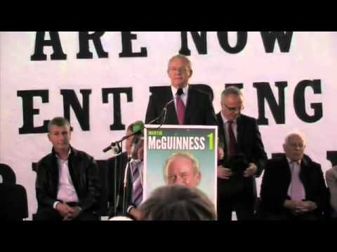 SINN FÉINS MARTIN McGUINNESS SPEAKS IN DERRY BEFORE EMBARKING ON HIS PRESIDENTIAL CAMPAIGN